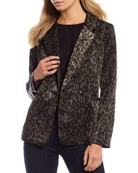 Skies Are Blue Long Sleeve Leopard Print Double Breast Blazer - Multicolor