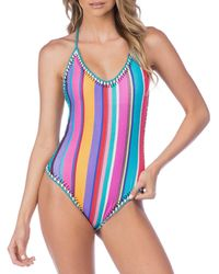 57567568e9f Nanette Lepore - Sayulita Serape Stripe Goddess Halter One-piece Swimsuit -  Lyst