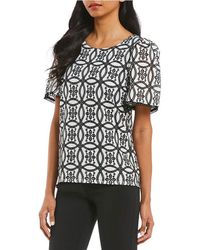 Isaac Mizrahi New York - Shirred Eyelet Embroidered Lace Trim Short Sleeve Top - Lyst