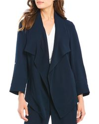 Donna Karan - New York Stretch Crepe Open-front Roll-sleeve Jacket - Lyst