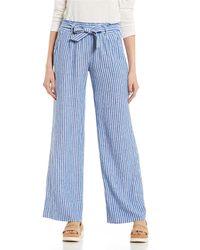 Jolt - Stripe Linen Paperbag Waist Pants - Lyst