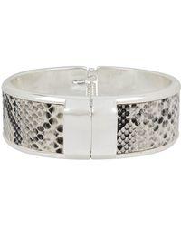 Kenneth Cole - Snake Skin And Silver Hinged Bangle Bracelet - Lyst
