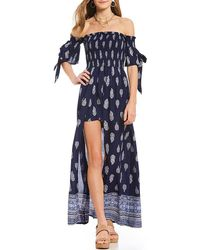 Band Of Gypsies - Printed Off The Shoulder Tie Sleeve Romper - Lyst