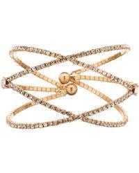 Cezanne - Double Crisscross Rhinestone Cuff Bracelet - Lyst