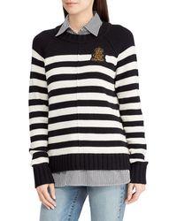 Lauren by Ralph Lauren - Bullion Patch Striped Layered Shirt - Lyst