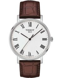 Tissot - T-classic Everytime Medium Stainless Steel And Leather-strap Watch - Lyst