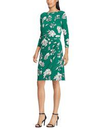 Lauren by Ralph Lauren - Floral Printed Jersey Dress - Lyst
