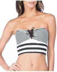 Lauren by Ralph Lauren - Modern Marine V-wire Stripe Bandeau Midkini Swimsuit Top - Lyst