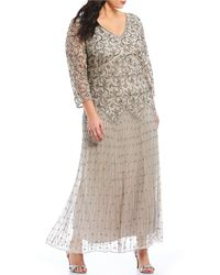 1b5adbb2e71 Pisarro Nights - Plus Size V-neck 3 4 Sleeve Long Beaded Gown -