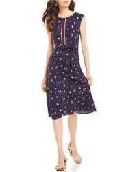 Joules - Lucinda Floral Print Belted A-line Dress - Lyst