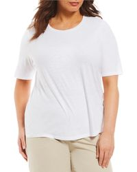 Eileen Fisher - Plus Round Neck Elbow Sleeve Top - Lyst