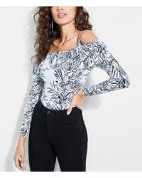 Guess - Amy Botanical Cold-shoulder Bodysuit - Lyst