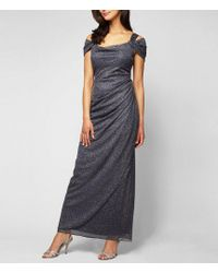 Alex Evenings - Petite Exposed-shoulder Glitter Mesh Gown - Lyst