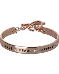 "BCBGeneration - Bcbg Rose Gold ""love, Peace, Happiness"" Bracelet - Lyst"