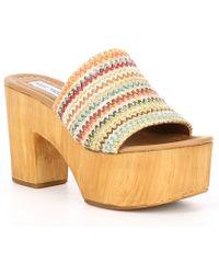 eee5d8d5efa9 Steve Madden - Playdate Woven Raffia Platform Wood Mule Sandals - Lyst