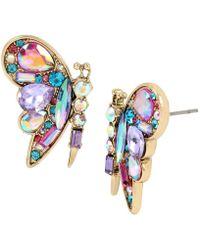 Betsey Johnson - Colorful Butterfly Stud Gold Tone Butterfly Stud Earrings - Lyst
