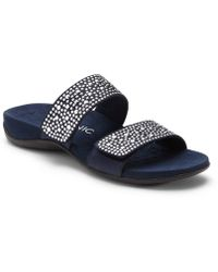 Vionic Samoa Studded Leather & Textile Banded Slip-On Sandals 7uk45Se5cS