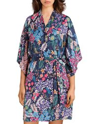 Josie By Natori Lotus Boutique Washed Satin Wrap Robe - Blue
