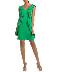 Trina Turk - Trina V-neck Ruffle Shift Dress - Lyst