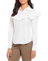 Antonio Melani - Jessie Long Sleeve Button Up Ruffle Novelty Shirting Blouse - Lyst