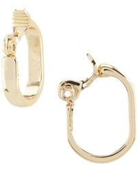 Anne Klein - Gold Clip Hoop Earrings - Lyst