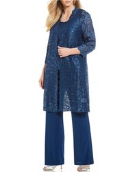R & M Richards - Plus Scallop Glitter Lace Duster 3 Piece Pant Set - Lyst