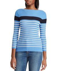 Lauren by Ralph Lauren - Petite Size Cotton Blend Stripe Boat Neck Sweater - Lyst