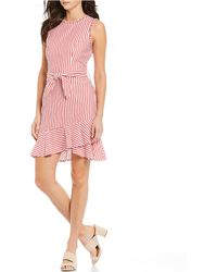 2fa283f9 Lucy Paris - Adeline Stripe Ruffle Trim Tie Waist Asymmetrical A-line Dress  - Lyst