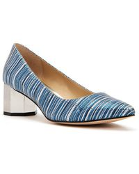 Zelaina Multi-Colored Embroidered Striped Kitten Heel Pumps xJKJLXoid