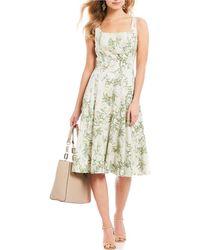ac6a60052d3 Antonio Melani - Tracey Leaf Print Square Neck A-line Midi Dress - Lyst