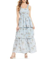 Sugarlips - Floral Print Sleeveless Square Neck Tiered Maxi Dress - Lyst