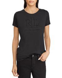 Lauren by Ralph Lauren - Embossed-logo T-shirt - Lyst