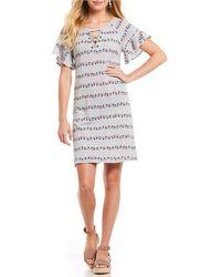 Democracy - Raglan Ruffle Sleeve Lace-up Neck Tennis Dress - Lyst