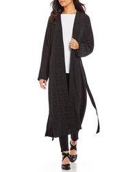 Eileen Fisher - Morse Code Print Belted Long Kimono Jacket - Lyst