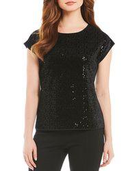 CALVIN KLEIN 205W39NYC - Sequin Embellished Velvet Short Sleeve Top - Lyst