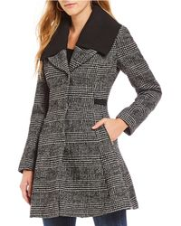 Guess - Wool Blend Menswear Plaid Fit & Flare Coat - Lyst