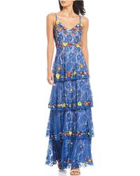 59161a8330f Gianni Bini - Dani Floral Beaded Sequin Detail Ruffle Tiered Lace Maxi Dress  - Lyst
