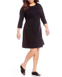 Eileen Fisher - Plus Size Jewel Neck 3/4 Sleeve Dress - Lyst