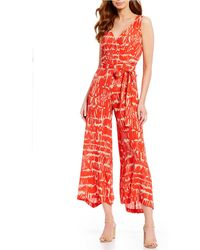 b1ceff1632a Eva Franco - Printed Surplice V-neck Sleeveless Wide Leg Cropped Jumpsuit -  Lyst