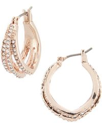 Anne Klein - Mini Crystal Hoop Earrings - Lyst