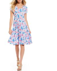 Joules - Finola Smudged Floral Print Gathered Waist Dress - Lyst
