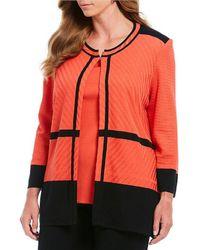 Ming Wang - Plus Size Jewel Neck Texture Block Jacket - Lyst