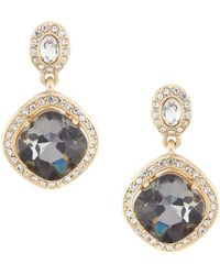 Belle By Badgley Mischka Faceted Stone Squared Drop Earrings - Black