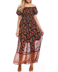 Patrons Of Peace - Twin Print Off The Shoulder Maxi Dress - Lyst