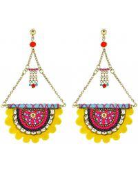 Panacea - Yellow Pom Pom Statement Earrings - Lyst