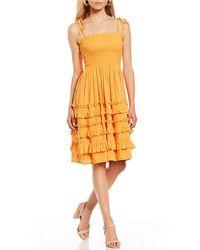 1d0f40a17e5 Gianni Bini - Saundra Smocked Ruffle Dress - Lyst