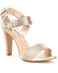 Karl Lagerfeld | Cieone Metallic Leather Ankle Strap Dress Sandals | Lyst