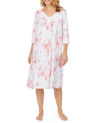 Carole Hochman Floral Print Jersey Knit Waltz Sleep Gown - Pink