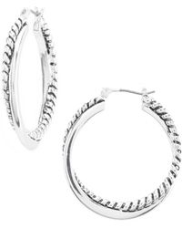 Lauren by Ralph Lauren - Silver Twisted Hoop Earrings - Lyst