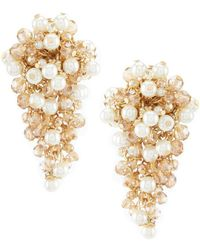 Belle By Badgley Mischka - Cluster Pearl Bead Clip Statement Earrings - Lyst